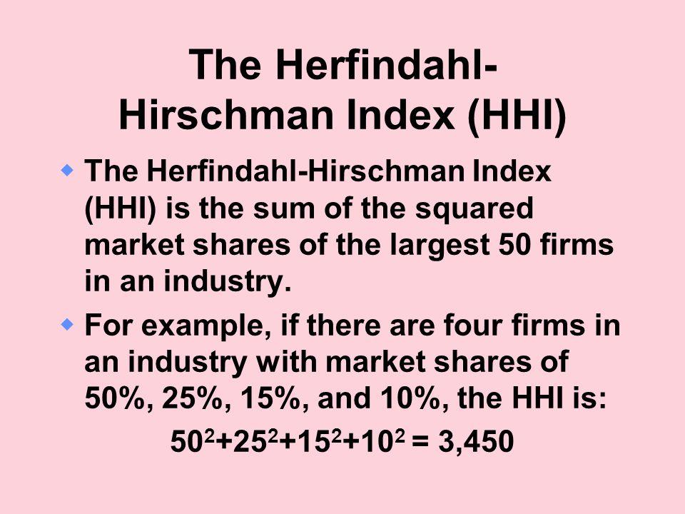 The Herfindahl- Hirschman Index (HHI)