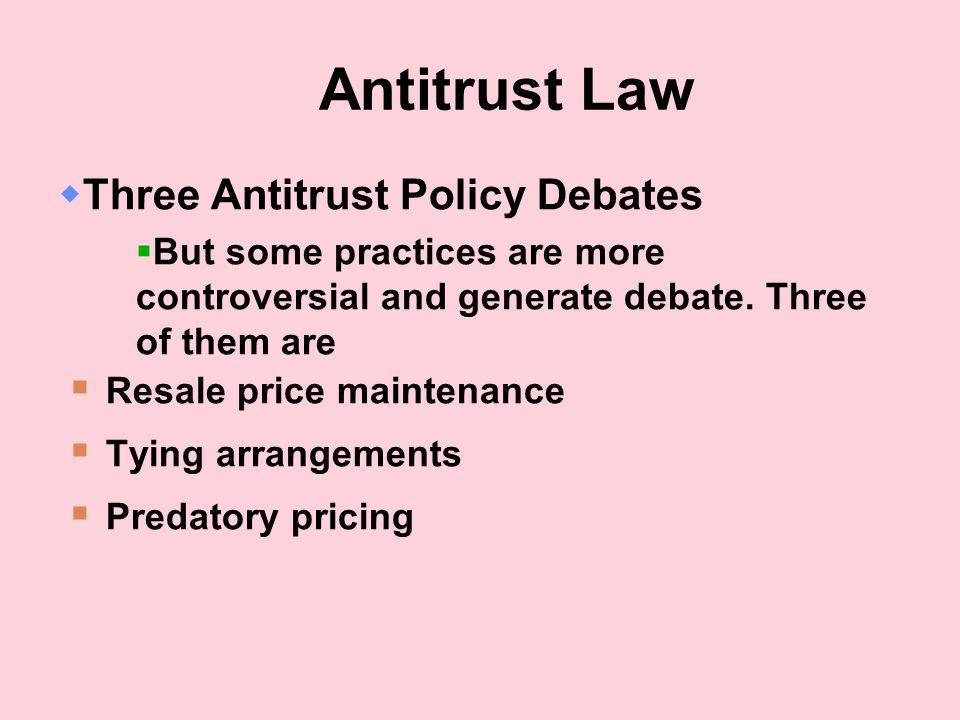 Antitrust Law Three Antitrust Policy Debates