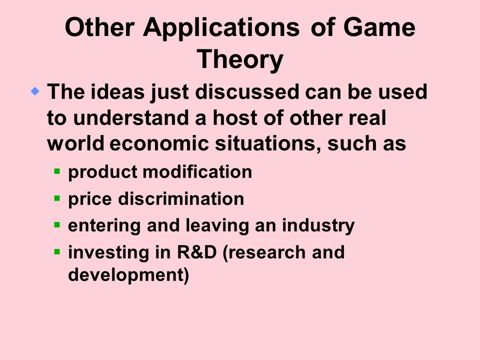 Other Applications of Game Theory