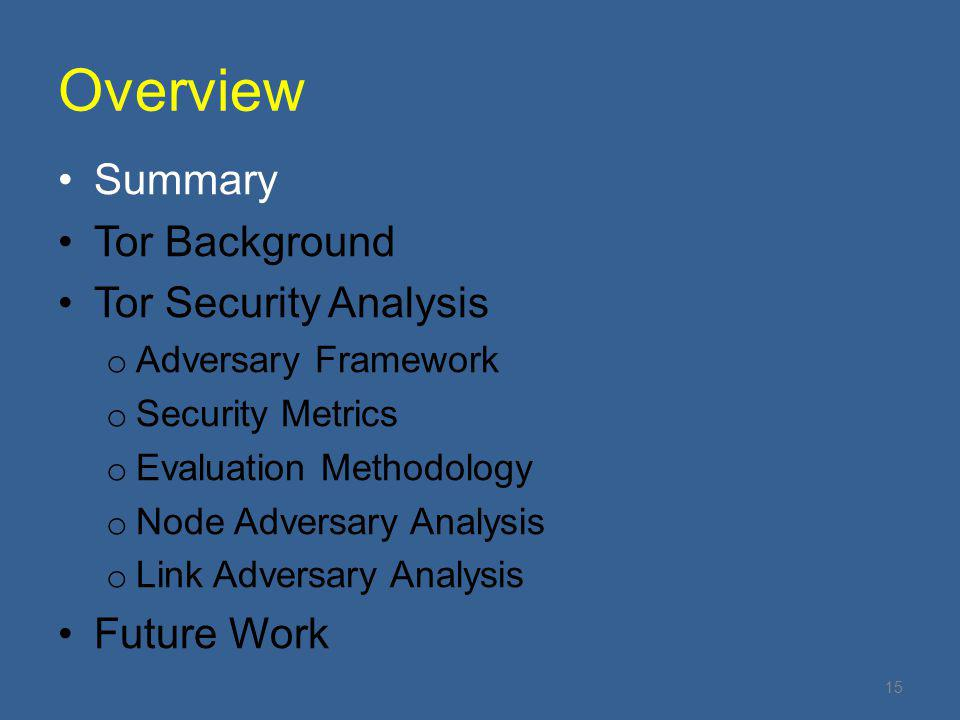 Overview Summary Tor Background Tor Security Analysis Future Work