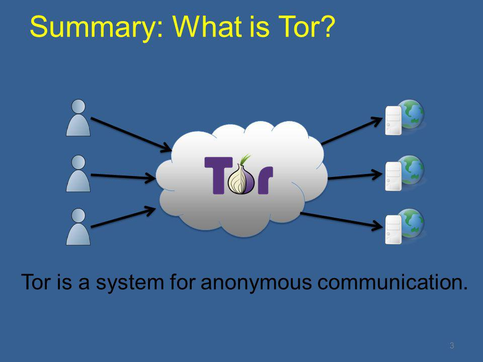 Summary: What is Tor Tor is a system for anonymous communication.