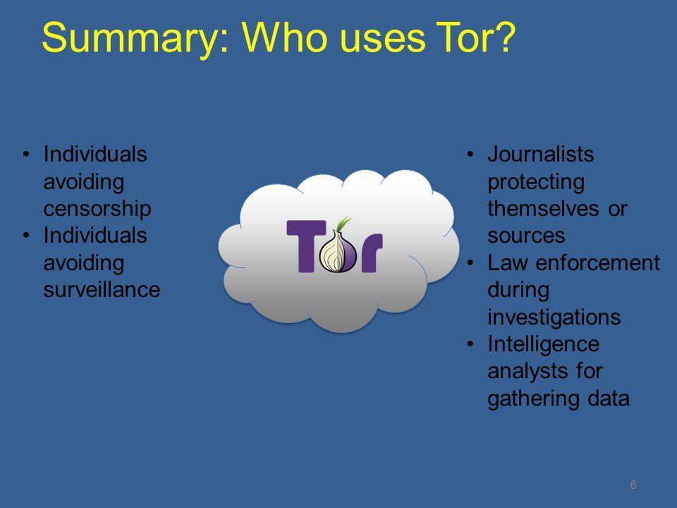 Summary: Who uses Tor Individuals avoiding censorship