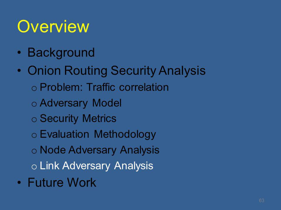 Overview Background Onion Routing Security Analysis Future Work