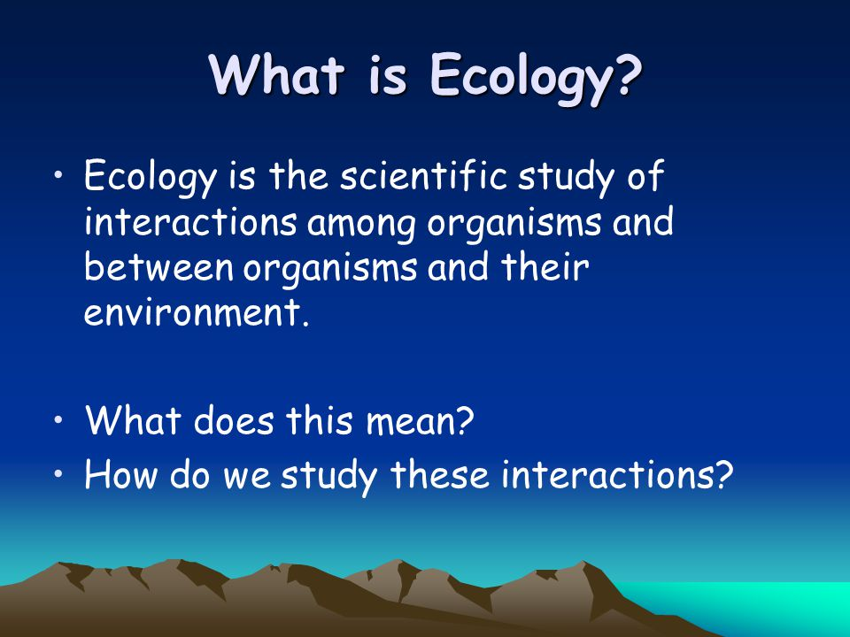 What is Ecology Ecology is the scientific study of interactions among organisms and between organisms and their environment.