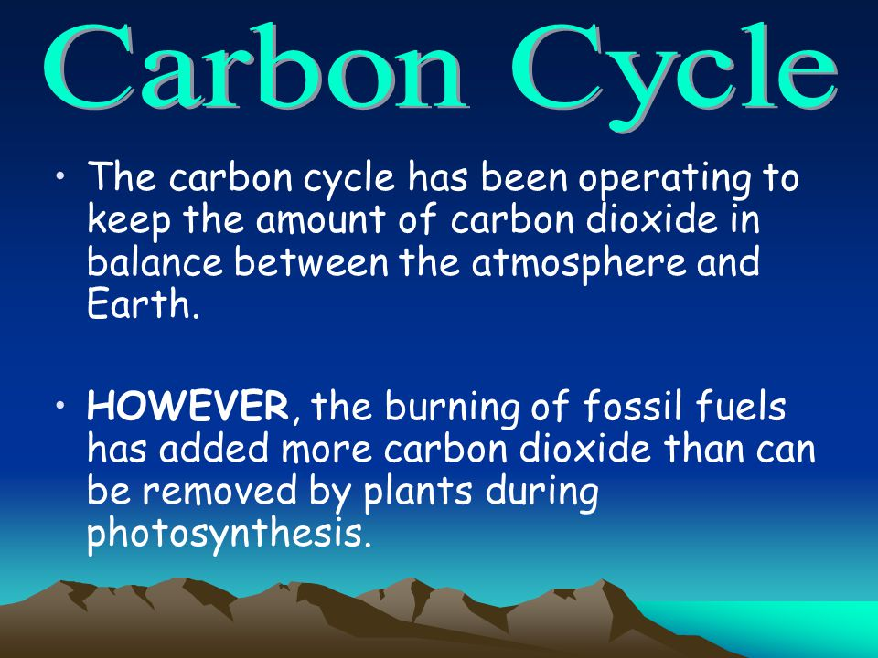 Carbon Cycle The carbon cycle has been operating to keep the amount of carbon dioxide in balance between the atmosphere and Earth.