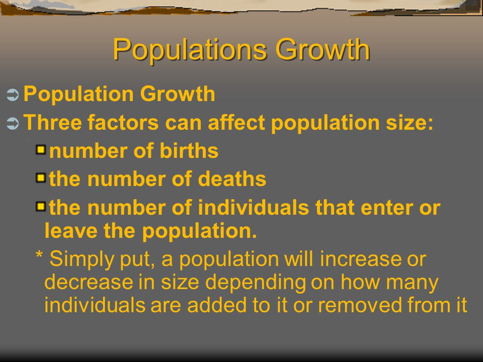 Populations Growth Population Growth