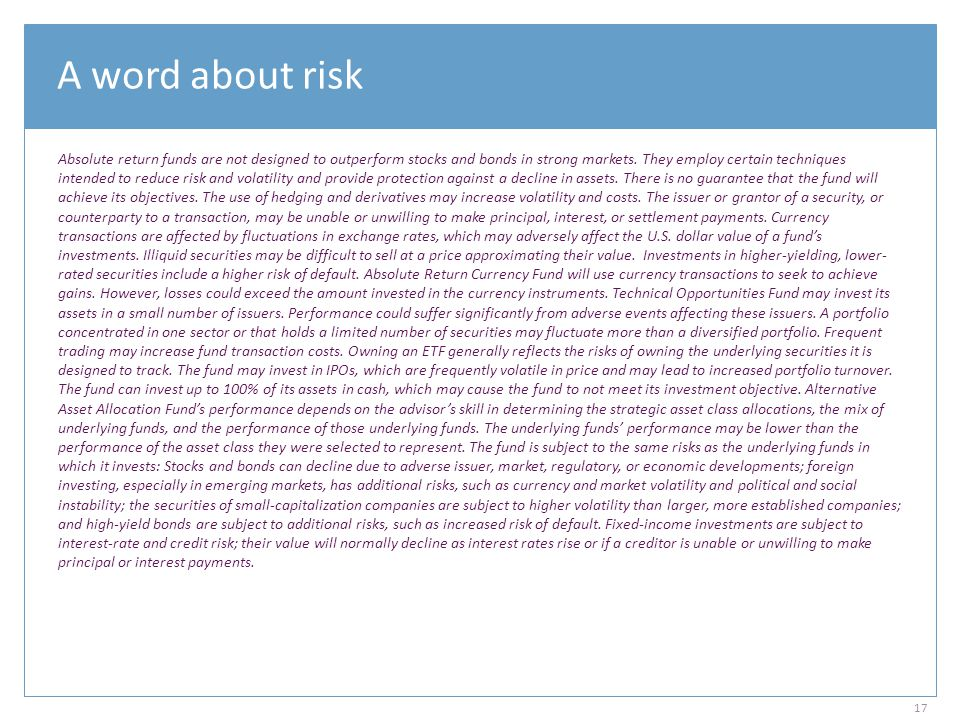 A word about risk