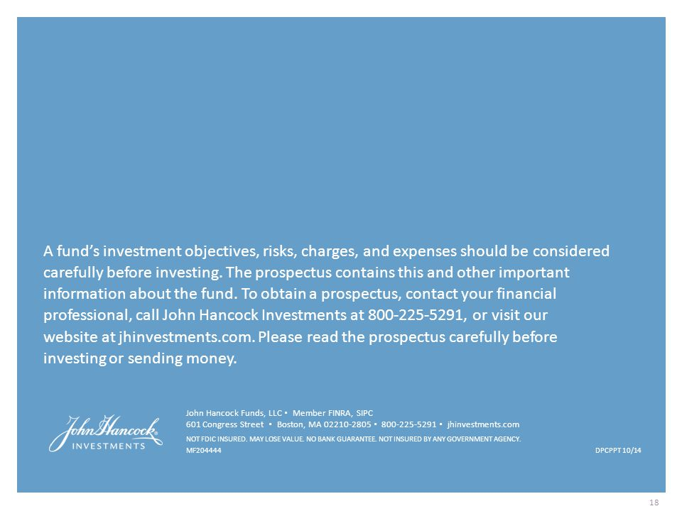 A fund's investment objectives, risks, charges, and expenses should be considered carefully before investing. The prospectus contains this and other important information about the fund. To obtain a prospectus, contact your financial professional, call John Hancock Investments at 800-225-5291, or visit our website at jhinvestments.com. Please read the prospectus carefully before investing or sending money.