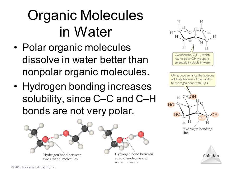 Organic Molecules in Water