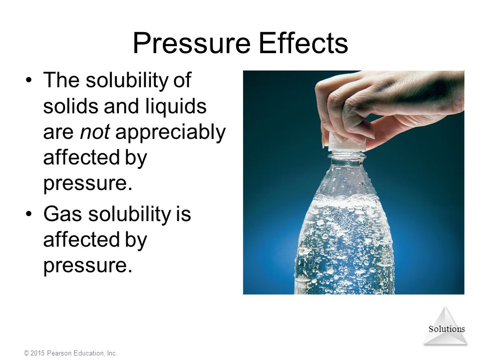 Pressure Effects The solubility of solids and liquids are not appreciably affected by pressure.