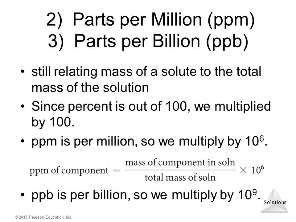 2) Parts per Million (ppm) 3) Parts per Billion (ppb)
