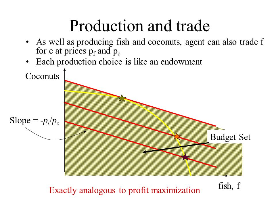 Production and trade As well as producing fish and coconuts, agent can also trade f for c at prices pf and pc.