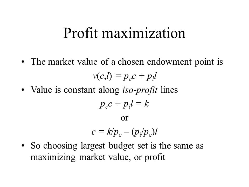 Profit maximization The market value of a chosen endowment point is