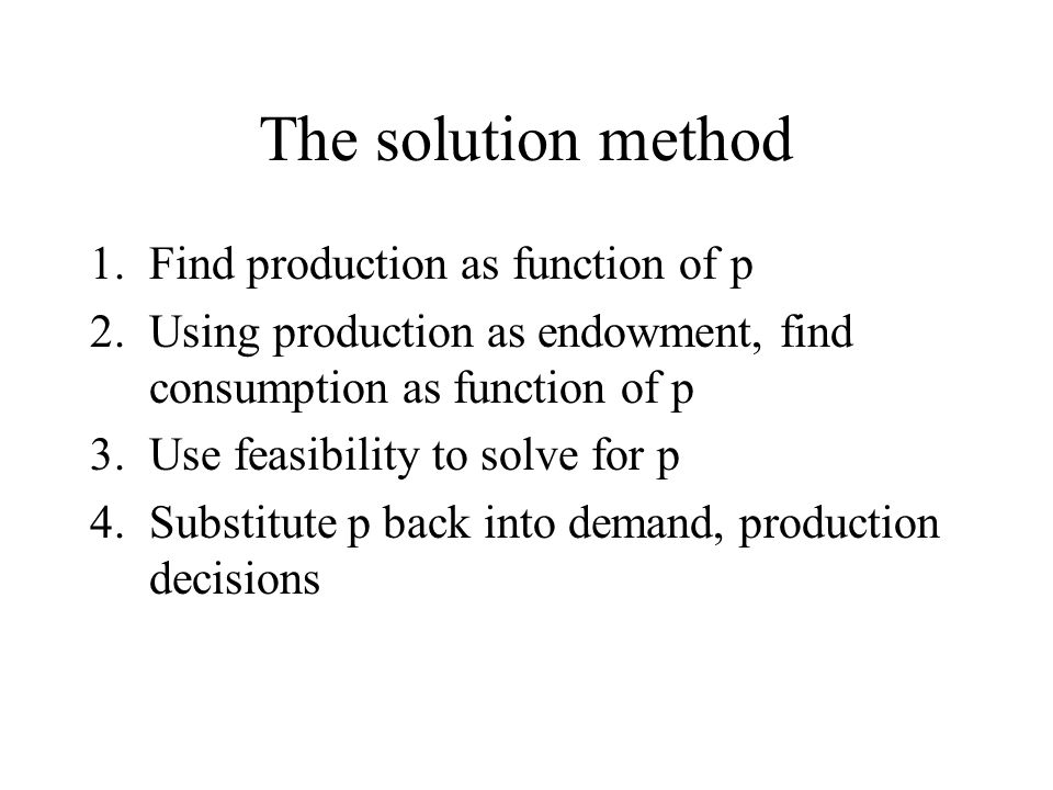The solution method Find production as function of p