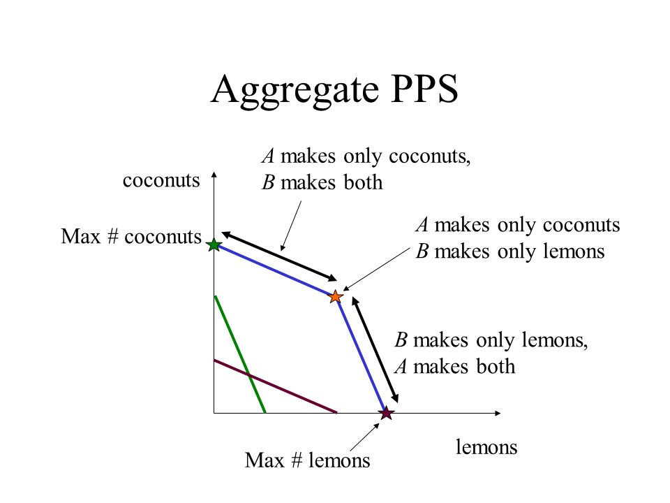 Aggregate PPS A makes only coconuts, B makes both coconuts