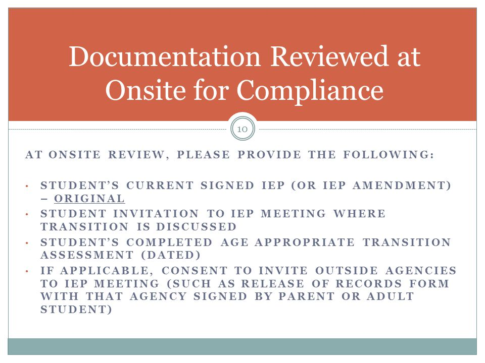 Documentation Reviewed at Onsite for Compliance