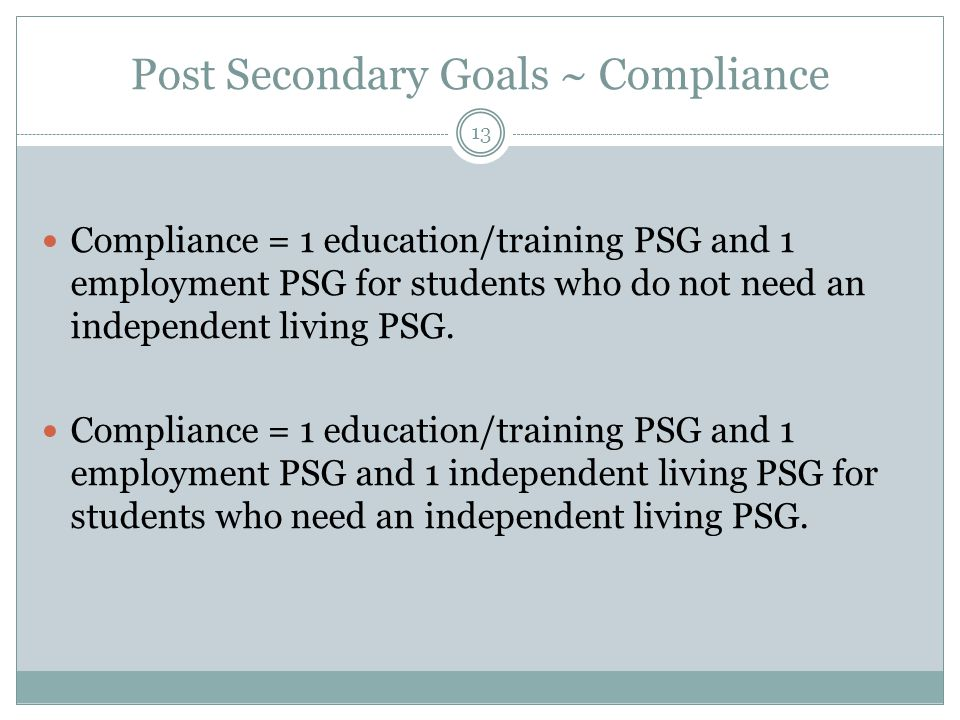 Post Secondary Goals ~ Compliance