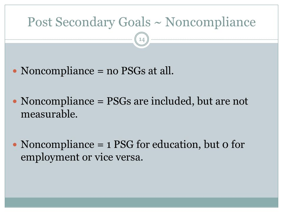 Post Secondary Goals ~ Noncompliance