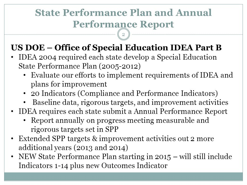 State Performance Plan and Annual Performance Report