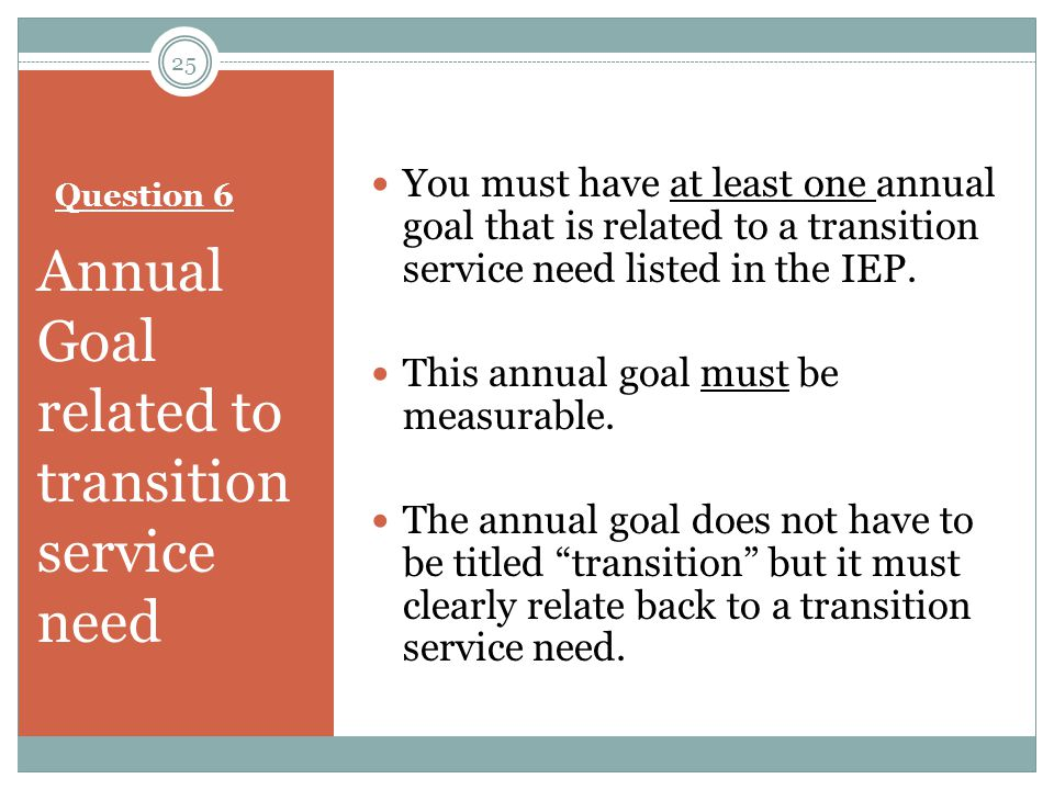 Annual Goal related to transition service need