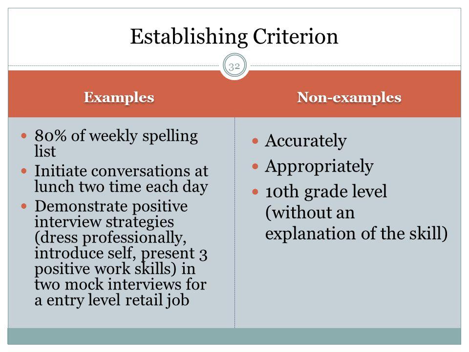 Establishing Criterion