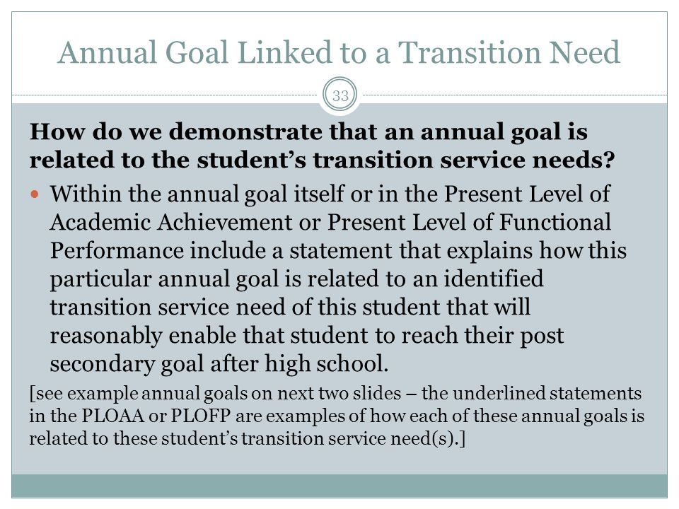 Annual Goal Linked to a Transition Need