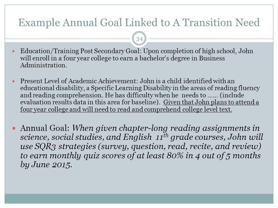 Example Annual Goal Linked to A Transition Need