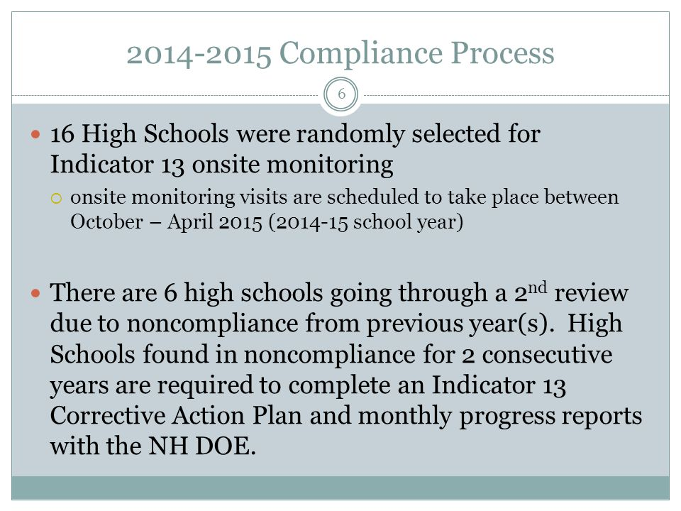 2014-2015 Compliance Process 16 High Schools were randomly selected for Indicator 13 onsite monitoring.