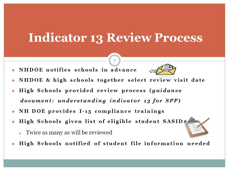 Indicator 13 Review Process