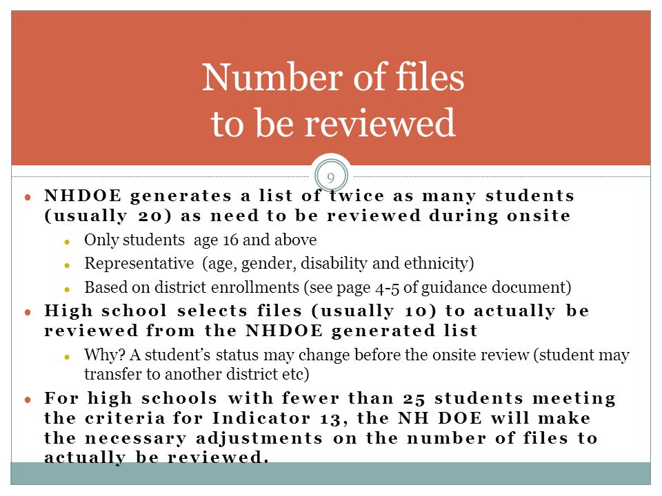 Number of files to be reviewed