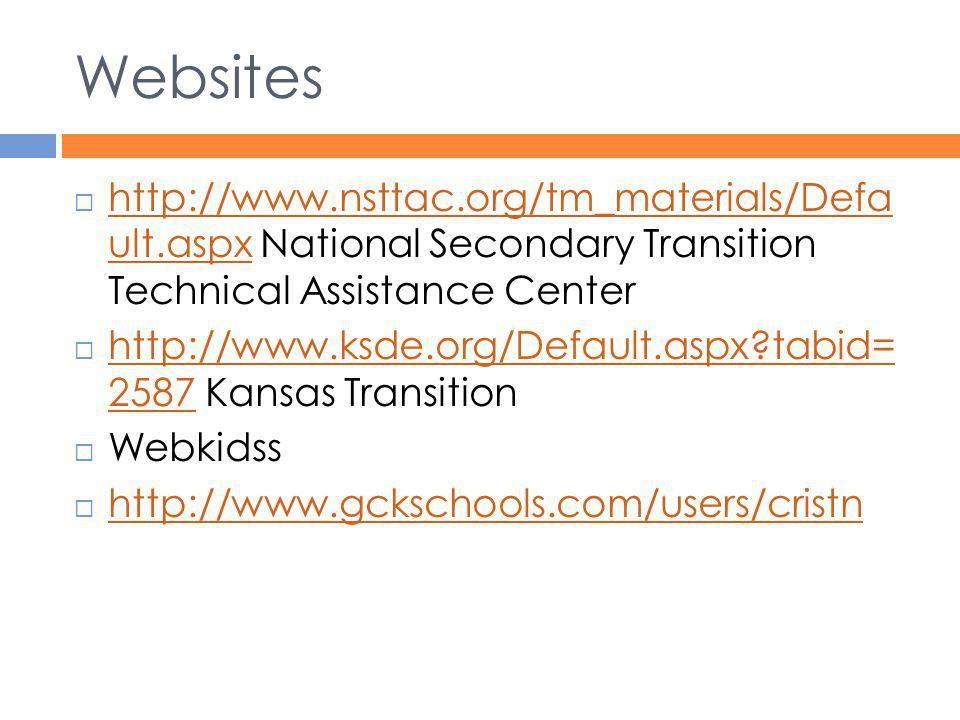 Websites http://www.nsttac.org/tm_materials/Defa ult.aspx National Secondary Transition Technical Assistance Center.