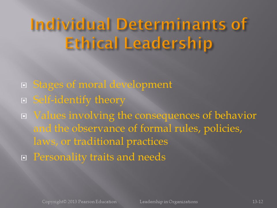 Individual Determinants of Ethical Leadership