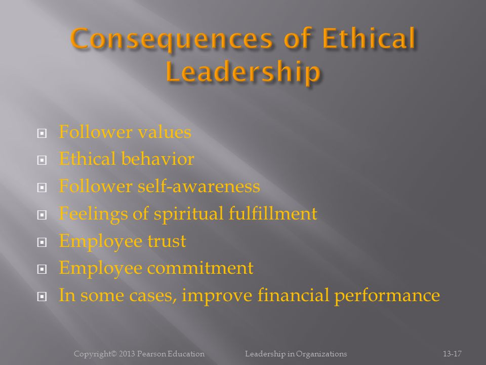 Consequences of Ethical Leadership