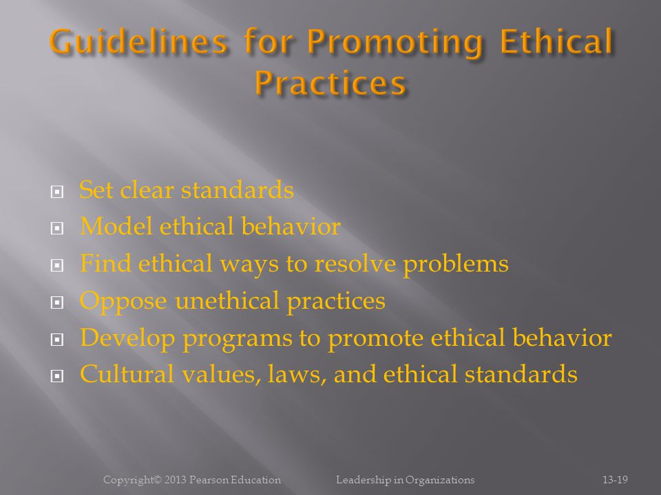 Guidelines for Promoting Ethical Practices
