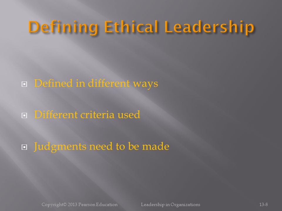 Defining Ethical Leadership
