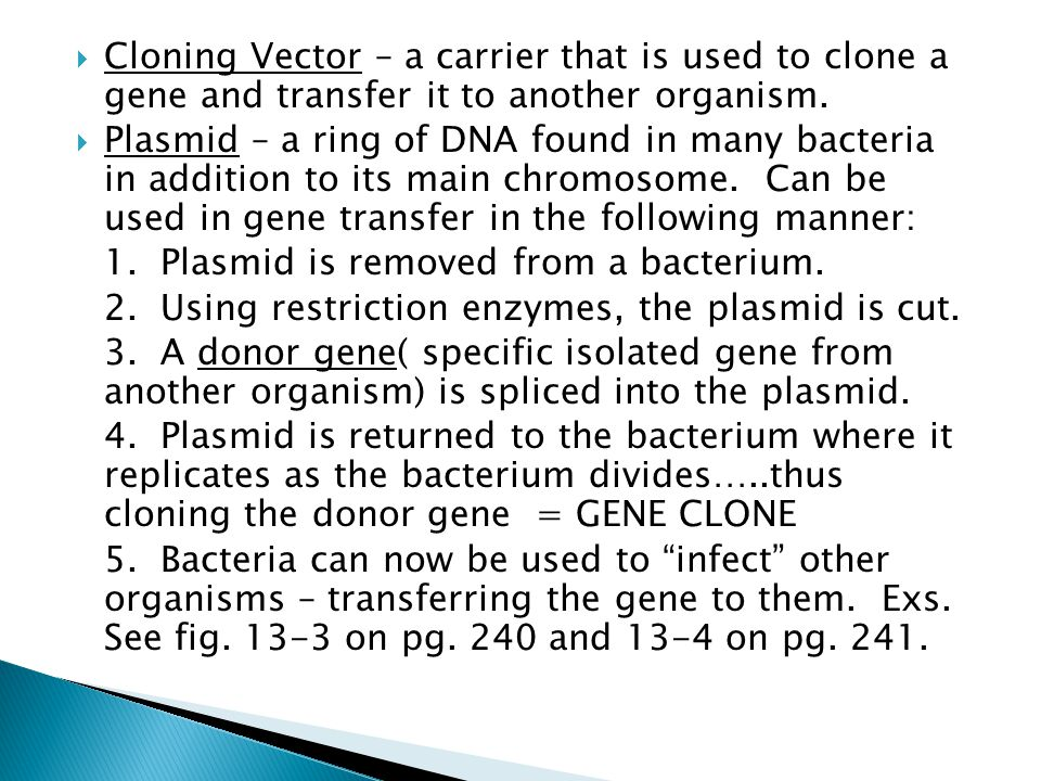 Cloning Vector – a carrier that is used to clone a gene and transfer it to another organism.