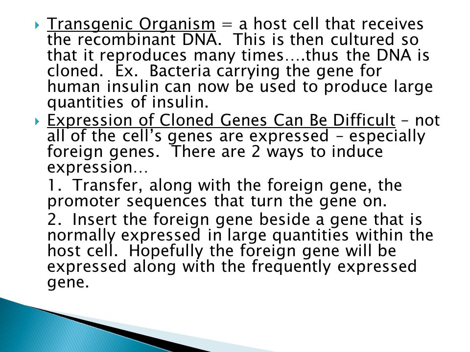 Transgenic Organism = a host cell that receives the recombinant DNA