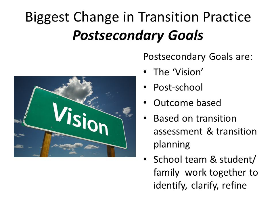 Biggest Change in Transition Practice Postsecondary Goals