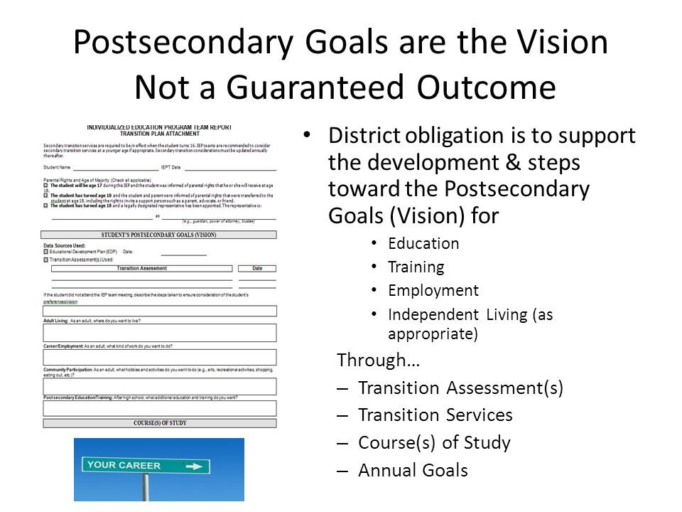 Postsecondary Goals are the Vision Not a Guaranteed Outcome