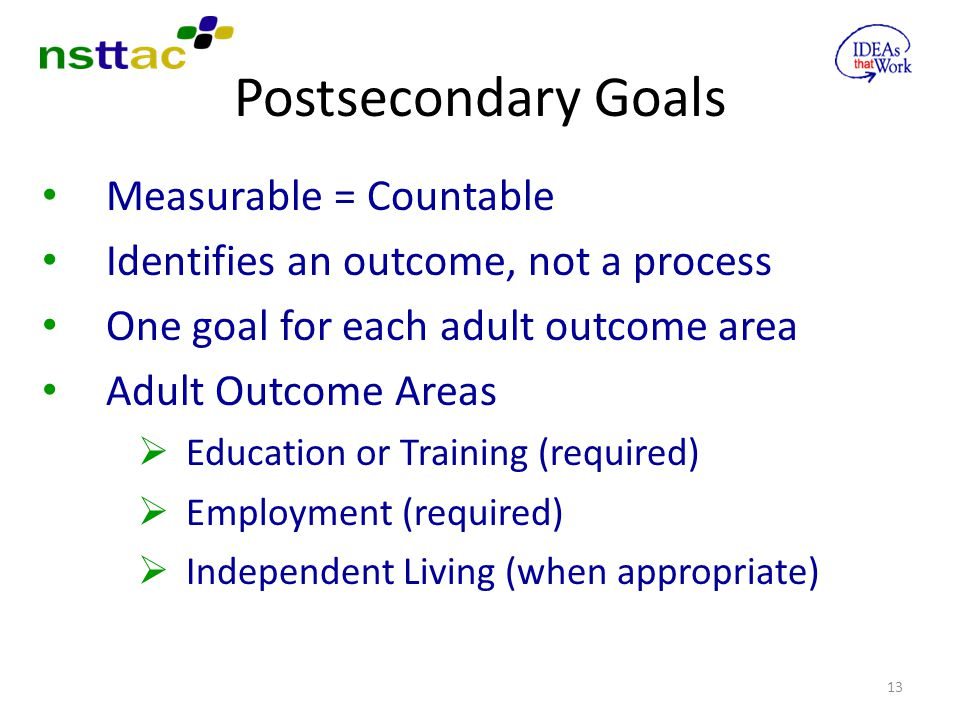 Postsecondary Goals Measurable = Countable