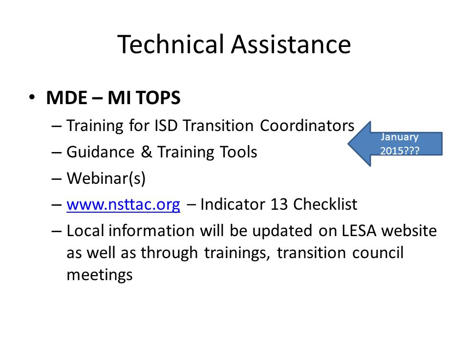 Technical Assistance MDE – MI TOPS