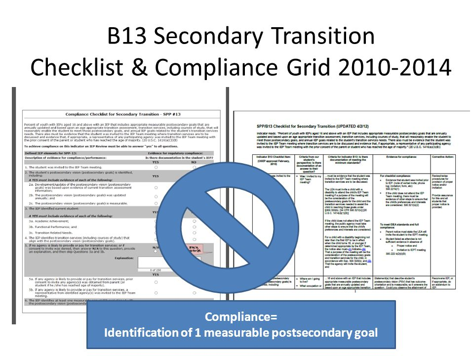 B13 Secondary Transition Checklist & Compliance Grid 2010-2014