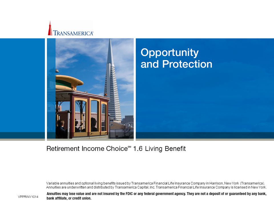 Hello and welcome to today's presentation, where we will discuss how you may be able to find both opportunity and protection in today's volatile markets for your retirement income with a Transamerica variable annuity and the optional Retirement Income ChoiceSM 1.6 living benefit.