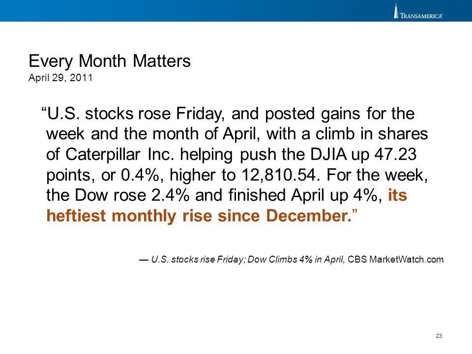 Every Month Matters April 29, 2011