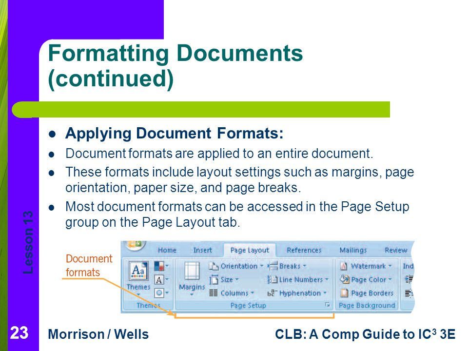 Formatting Documents (continued)