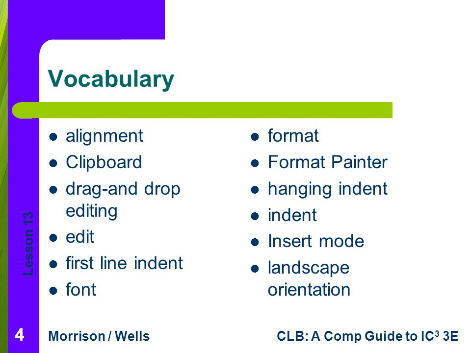 Vocabulary alignment Clipboard drag-and drop editing edit