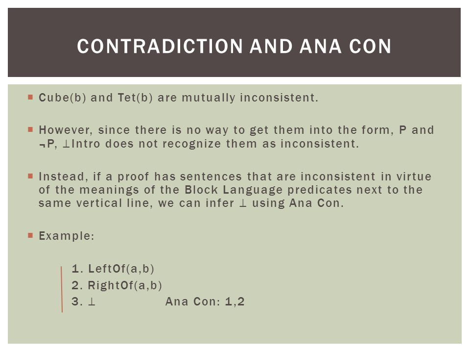 Contradiction and ana con