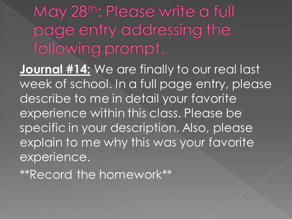 May 28th: Please write a full page entry addressing the following prompt.