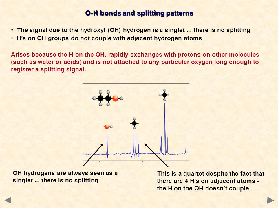 O-H bonds and splitting patterns