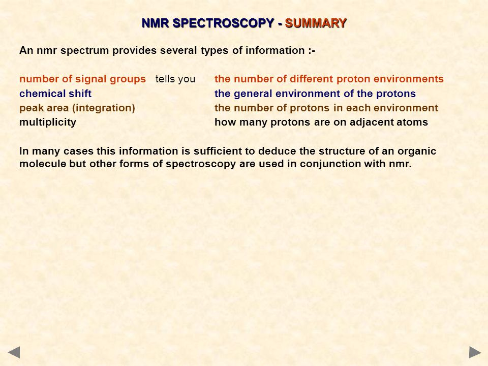 NMR SPECTROSCOPY - SUMMARY